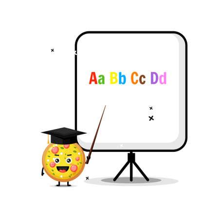 Cute pizza mascot explains the alphabet