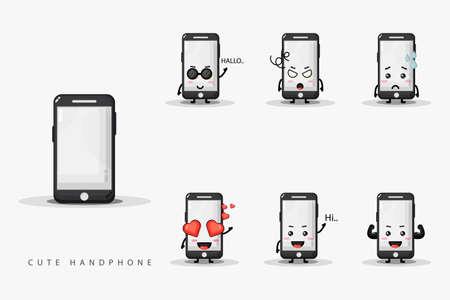 Cute smartphone mascot design set Vetores