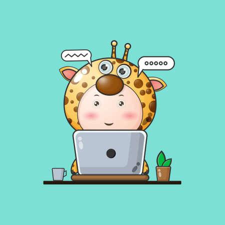 Illustration of a baby Giraffe working on a laptop. giraffe mascot cartoon characters Vector Illustration