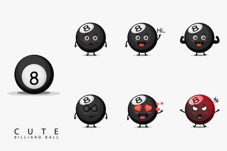 cute billiard ball mascot set
