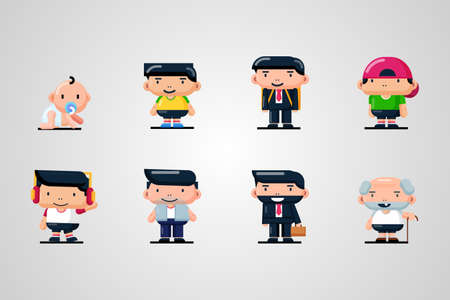 Set of cute male characters from birth to old age Illusztráció