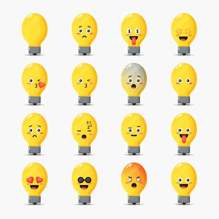 Set of cute light bulbs with expressions Ilustración de vector