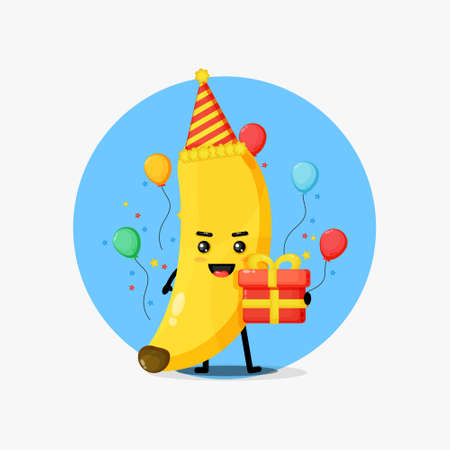 Cute banana mascot on birthday