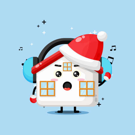 Cute house mascot listening to music on Christmas day
