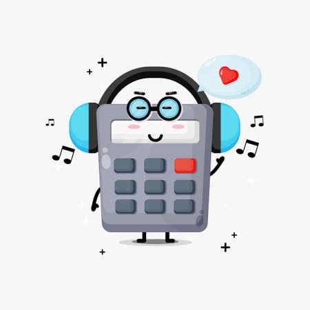 Cute calculator mascot listening to music