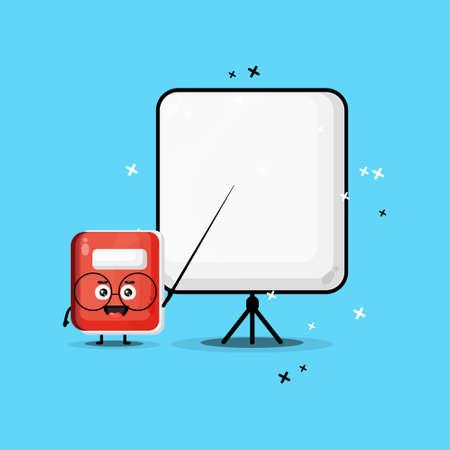Cute notebook mascot becomes a teacher