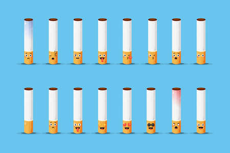 Cute cigarette with emoticons set