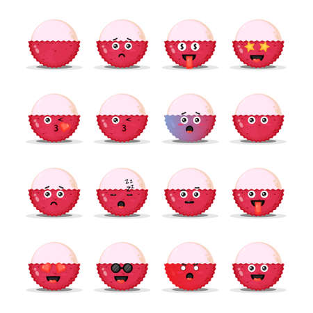 Cute lychee with emoticons set