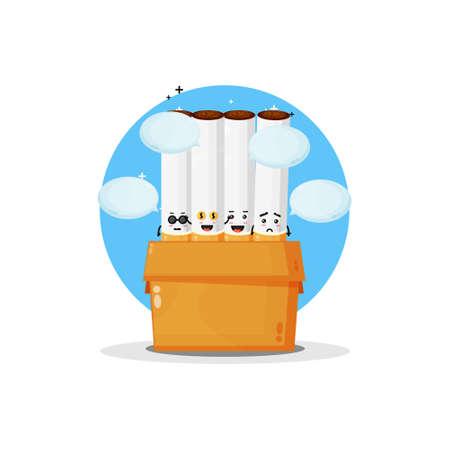 Cute cigarette mascot in the box Illusztráció