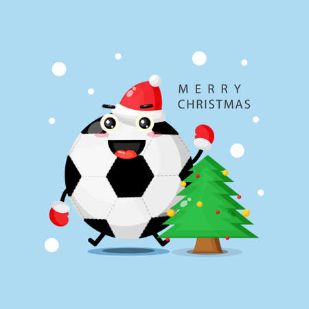 Cute mascot soccer ball happy to celebrate Christmas day