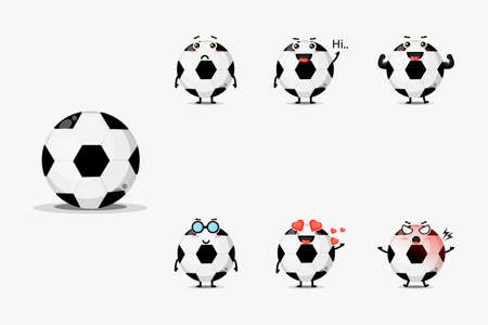 Cute football ball mascot set