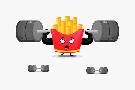 Cute french fries mascot lifting a barbell
