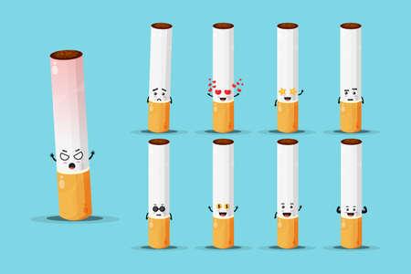 Cute cigarette mascot design set Stock fotó - 157016127