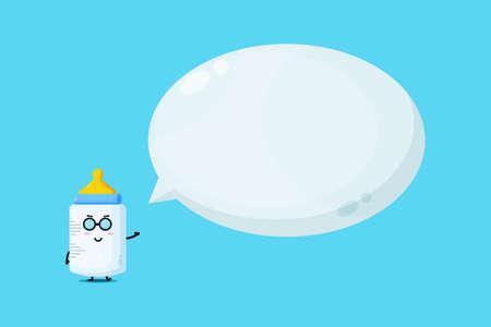 Cute baby bottle mascot with bubble speech