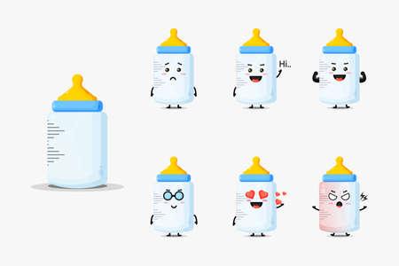 Cute baby bottle mascot set Illusztráció