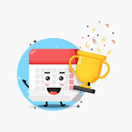 Cute calendar mascot lifts the trophy Illusztráció
