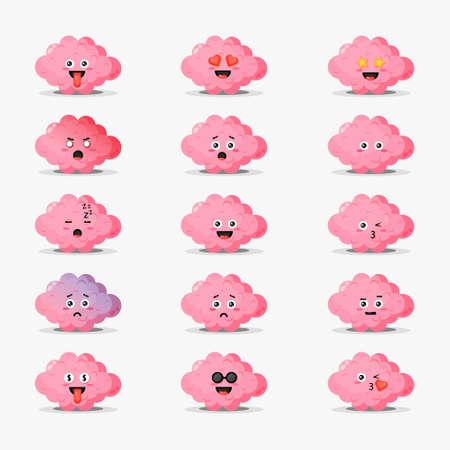 Cute brain with emoticons set Illusztráció