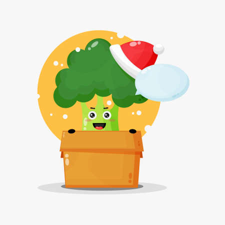Cute broccoli mascot in a box wearing a Christmas hat