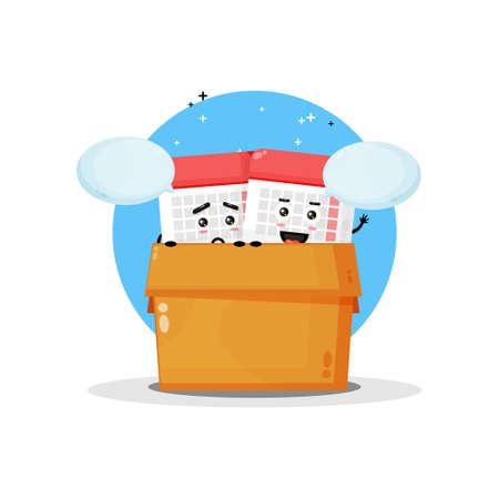 Cute calendar mascot in the box