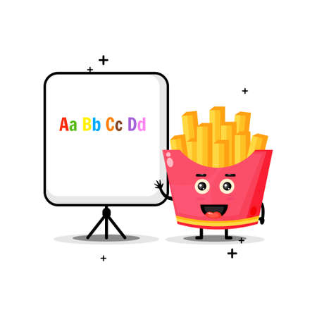 Cute french fries mascot explains the alphabet