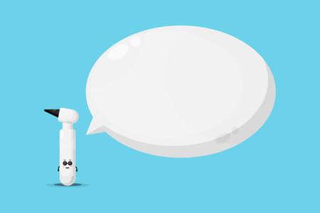 Cute otoscope mascot with bubble speech