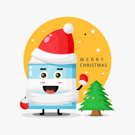 Cute milk mascot wishing you a merry Christmas Illusztráció