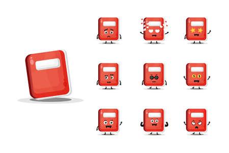 Cute notebook mascot design set Illusztráció
