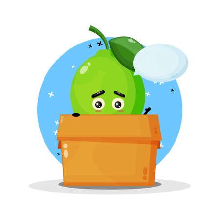 Cute lime mascot in the box Illusztráció