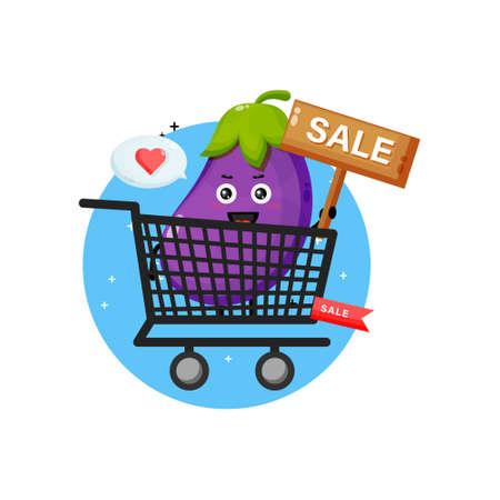 Cute eggplant mascot in grocery basket
