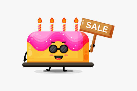 Cute birthday cake mascot with the sales sign