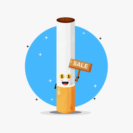 Cute cigarette mascot with the sales sign
