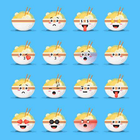 Cute ramen with emoticons set