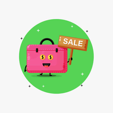 Cute work bag mascot with the sales sign