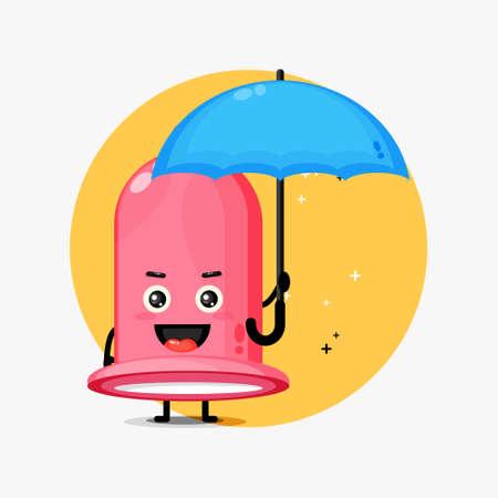 Cute condom mascot brings an umbrella