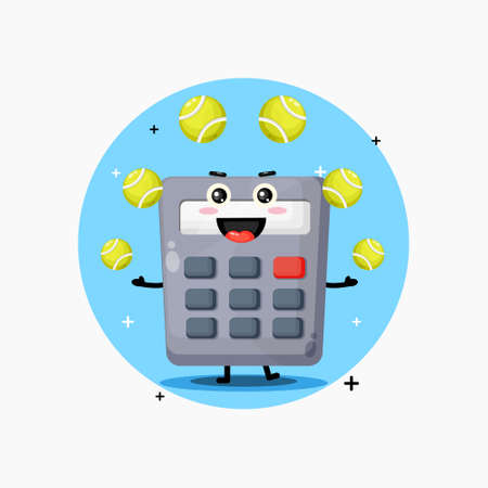 Cute calculator mascot playing tennis ball