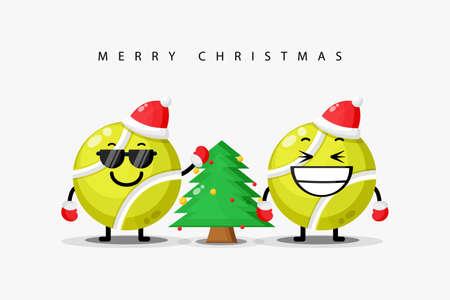 Cute tennis ball mascot welcomes Christmas