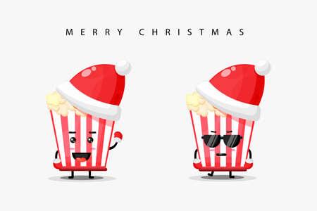 Cute popcorn mascot wearing Christmas hat