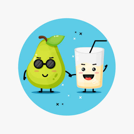 Cute pear and pear juice mascot holding hands
