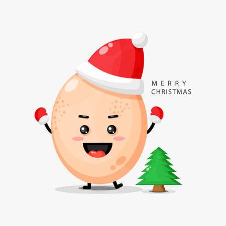 Cute egg mascot celebrates Christmas day