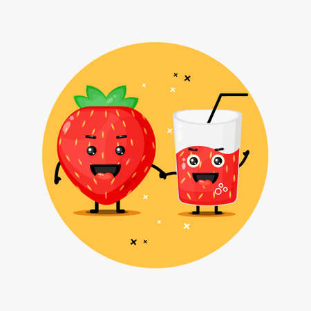 Cute strawberry and strawberry juice mascot holding hands