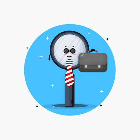 Cute magnifying glass mascot leaves for work 向量圖像
