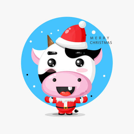 Happy cute cow wearing a Santa Claus uniform