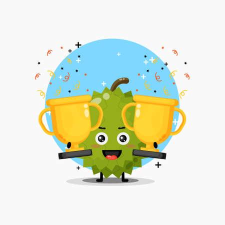 The cute durian mascot raises the trophy Illusztráció