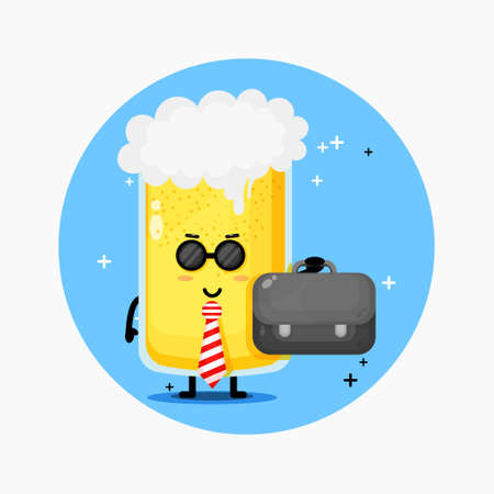 Cute office employee beer mascot