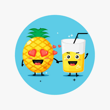Cute pineapple and pineapple juice mascot holding hands