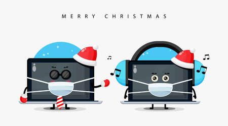 Cute laptop mascot wearing a Christmas hat and medical mask