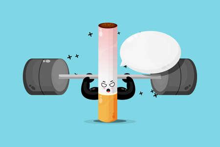 Cute cigarette mascot raises a barbell Illusztráció