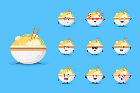 Cute ramen mascot design set