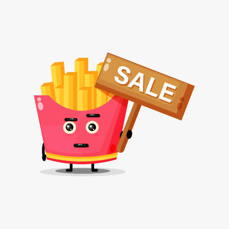 Cute french fries mascot with the sales sign