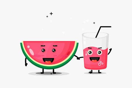 Cute watermelon and watermelon juice mascot holding hands Illusztráció